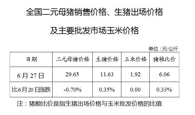 全国二元母猪销售价格、生猪出场价格及主要批发市场玉米价格(6月27日)